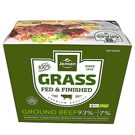 Jensen Grass Fed 93% Lean Ground Beef, Frozen (4 lbs.)