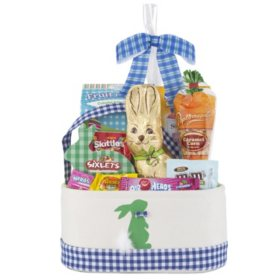 Blue/Green Easter Bunny Tote Gift Basket