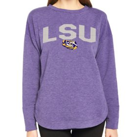 Ladies' NCAA Pullover Long Sleeve French Terry Top LSU Tigers