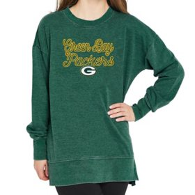 Ladies' NFL Pullover Long Sleeve Burnout Garment Wash Top Green Bay Packers