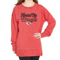Ladies' NFL Pullover Long Sleeve Burnout Garment Wash Top Kansas City Chiefs