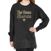 Ladies' NFL Pullover Long Sleeve Burnout Garment Wash Top New Orleans Saints