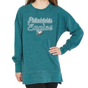 Ladies' NFL Pullover Long Sleeve Burnout Garment Wash Top Philadelphia Eagles