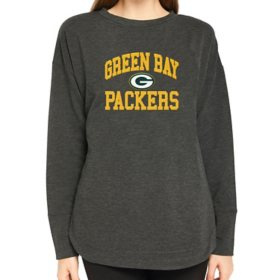 Ladies NFL Pullover Long Sleeve French Terry Top Green Bay Packers