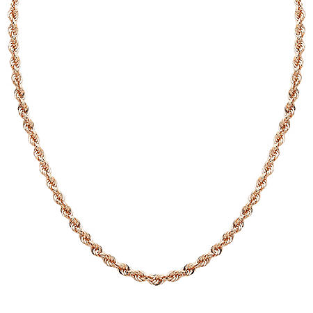 """18"""" Hollow Rope Chain in 14K Rose Gold"""