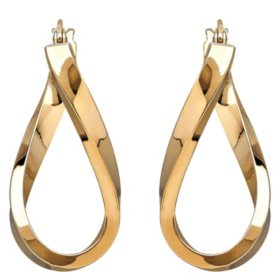 Polished Twist Hoop Earrings in 14K Yellow Gold