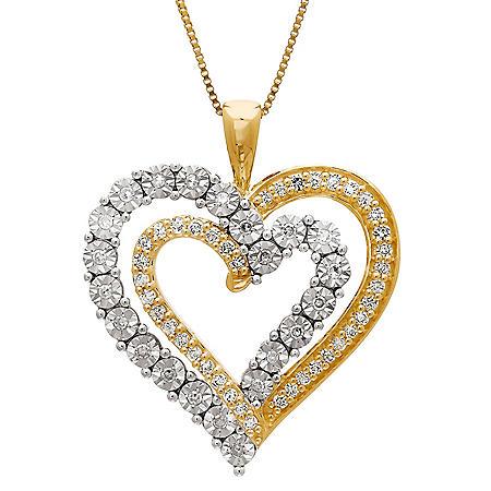 097c58630d01c 0.31 CT. T.W. Diamond Layered Double-Heart Pendant in 14K Yellow ...