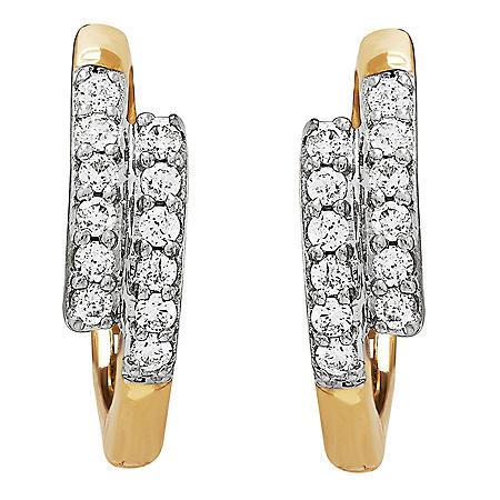 Double-row 0.20 CT. T.W. Diamond Hoop Earrings in 14K Yellow Gold