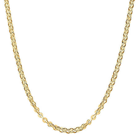 """Round Flat Link Chain in 14K Yellow Gold, 18"""""""