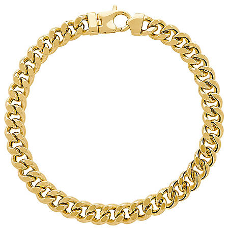 93fe8b9f1 7.9MM Curb Link Men's Bracelet in 14K Yellow Gold, 9