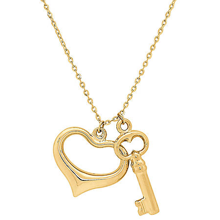 """14K Yellow Gold Heart and Key Charms on 18"""" Chain"""