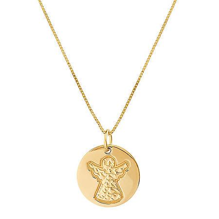 Diamond Cut Angel Pendant in 14K Yellow Gold