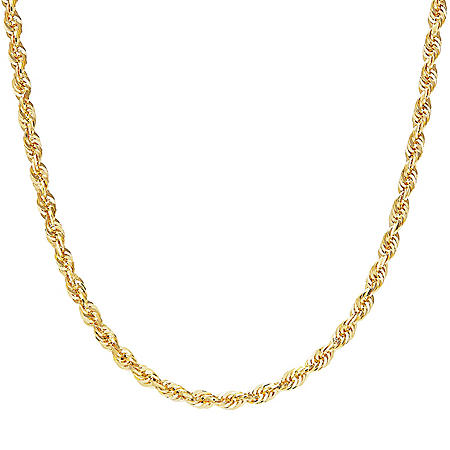 14K Yellow Gold 3.85-4.00MM Solid Rope Chain