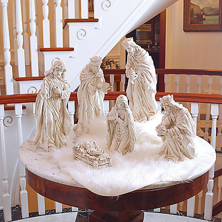White Distressed Nativity