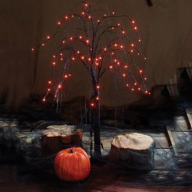Light-up Spooky Willow Tree with Orange Lights, Set of 2