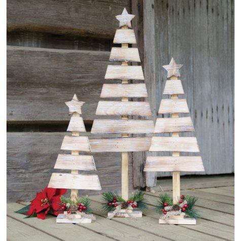 Rustic Wood Slat Christmas Trees, Set of 3
