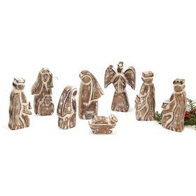 8-Piece Whitewashed Wooden Nativity Set