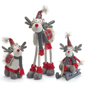 Décor Plush Moose Family Assorted