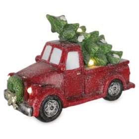 Décor Lighted Red Truck