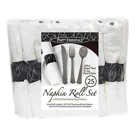 Party Essentials Napkin Roll Bag Set with Silver Cutlery (4 cases, 100 ct. total)