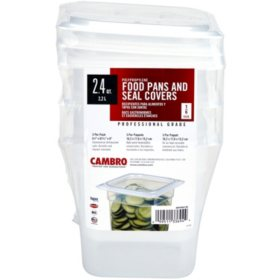 "Cambro Translucent Pan with Cover, 1/6 size, 6"" deep (3 pk.)"
