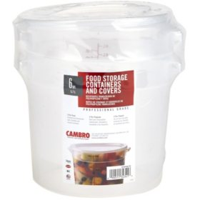 Cambro Round Translucent Container with Lid (6 qt., 2 pk.)