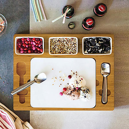 Bamboo and Marble Ice Cream Mixing Set