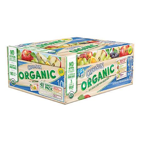 Capri Sun Organic Fruit Juice, Variety Pack (6 oz. pouches, 40 ct.)
