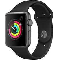 Apple Watch Series 3 GPS 42MM Space Gray Aluminum Case with Black Sport Band