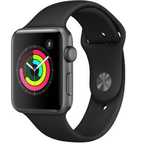 Apple Watch Series 3 GPS Space Gray Aluminum Case with Black Sport Band (Choose Size)