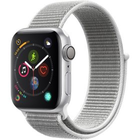 Apple Watch Series 4 GPS Silver Aluminum Case with White Sport Loop (Choose Size)