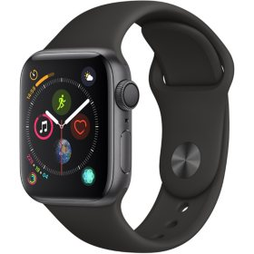 Apple Watch Series 4 GPS Space Gray Aluminum Case with Black Sport Band (Choose Size)