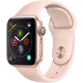 Apple Watch Series 4 GPS Gold Aluminum Case with Pink Sand Sport Band (Choose Size)