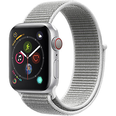 Apple Watch Series 4 40MM GPS + Cellular Silver Aluminum Case with White Sport Loop