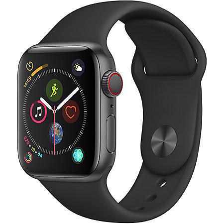 Apple Watch Series 4 44MM GPS + Cellular Space Gray Aluminum Case with Black Sport Band