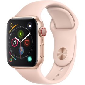 Apple Watch Series 4 GPS + Cellular Gold Aluminum Case with Pink Sport Band (Choose Size)