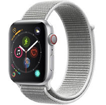 Apple Watch Series 4 GPS + Cellular 44MM Silver Aluminum Case with White Sport Loop