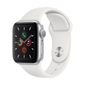 Apple Watch Series 5 GPS Silver with White Band (Choose Size)