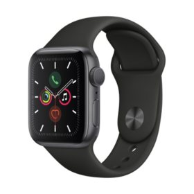 Apple Watch Series 5 GPS Gray with Black Band (Choose Size)