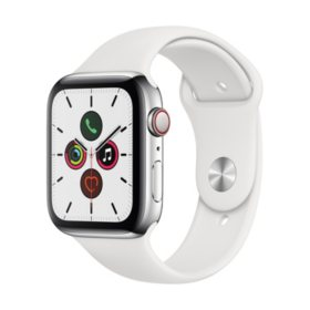 Apple Watch Series 5 44MM GPS + Cell Stainless Silver with White Band