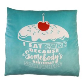 """I Eat Cake"" Phrase Cloud Pillow (24"" x 24"")"