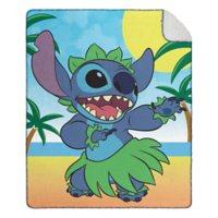 """Disney's Lilo & Stitch """"Beach Dance"""" Cloud Throw Blanket with Sherpa Back, 50"""" x 60"""""""