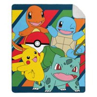 """Pokemon """"Type Awesome"""" Cloud Throw Blanket with Sherpa Back, 50"""" x 60"""""""