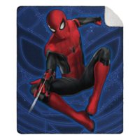 """Spiderman: No Way Home """"Blue Jump"""" Cloud Throw Blanket with Sherpa Back, 50"""" x 60"""""""