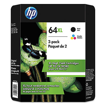 HP 64XL High Yield Original Inkjet Cartridge, Black/Tri-Color, 2 Pack