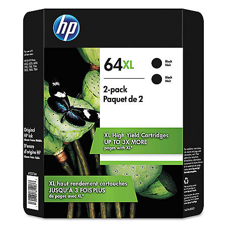 HP 64XL High Yield Original Inkjet Cartridge, Black, 2 Pack