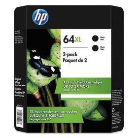 HP 64XL High Yield Original Inkjet Cartridge, Black, 2 Pack