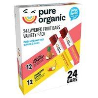 Pure Organic Layered Fruit Bars, Variety Pack (0.63 oz., 24 ct.)