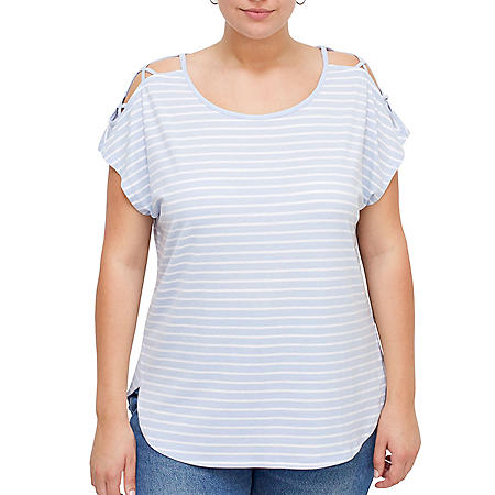 Plus Size Open Shoulder Criss Cross Short Sleeve Top