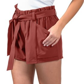 90 Degree Woven Gathered Waist Belted Short